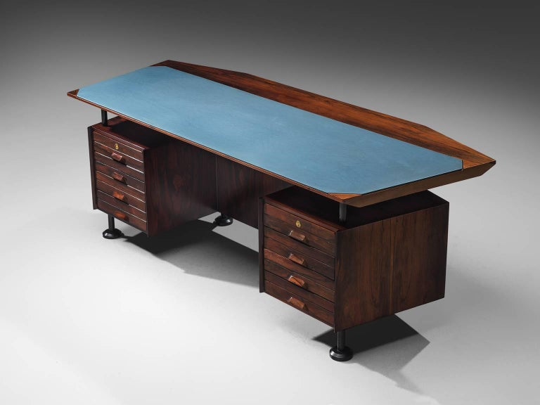 Desk with blue top in rosewood, brass, Italy, circa 1950s.