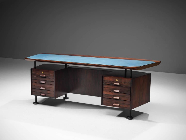 Mid-Century Modern Rosewood Desk with Blue Leatherette Inlay
