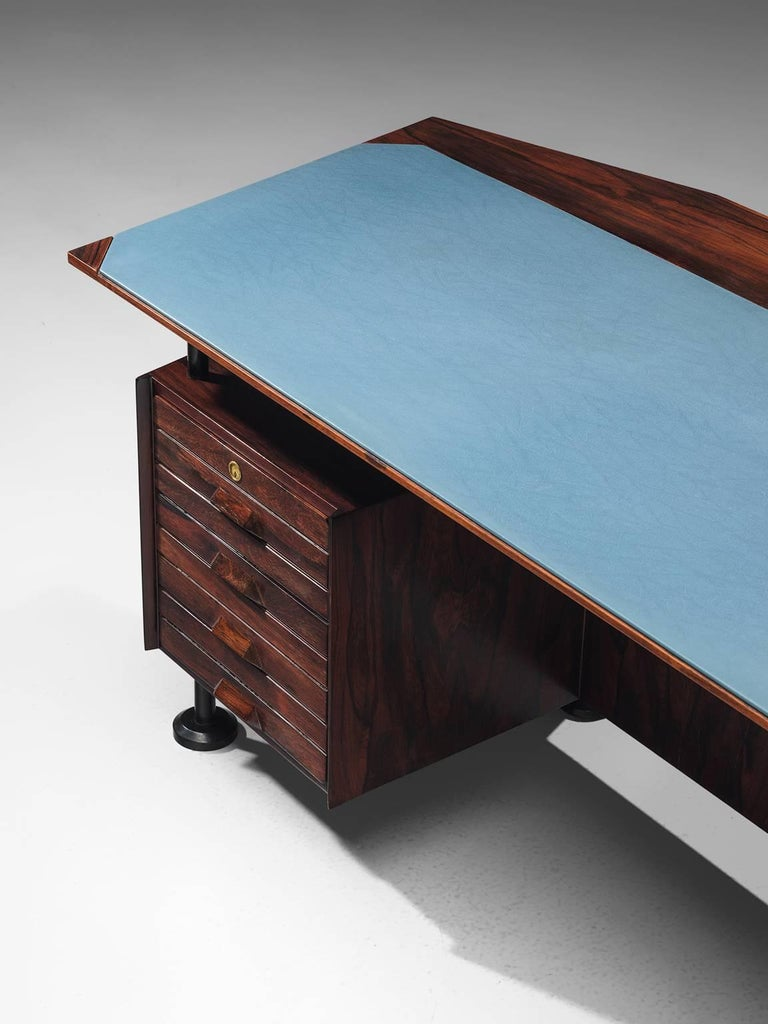 Rosewood Desk with Blue Leatherette Inlay In Excellent Condition In Waalwijk, NL