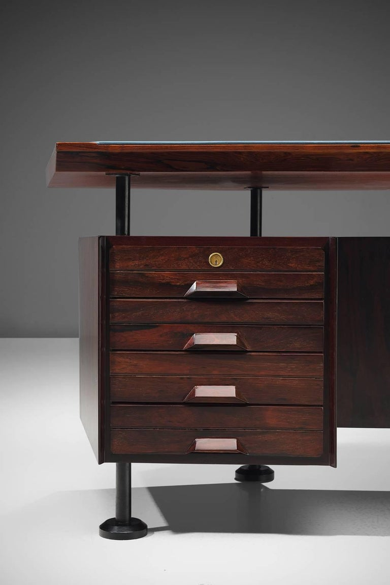 Mid-20th Century Rosewood Desk with Blue Leatherette Inlay