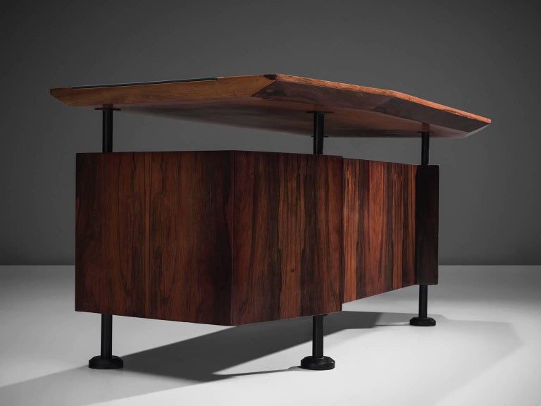 Faux Leather Rosewood Desk with Blue Leatherette Inlay