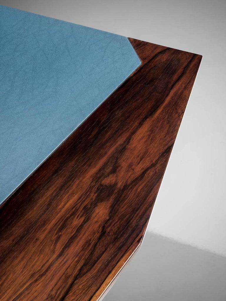 Rosewood Desk with Blue Leatherette Inlay 1