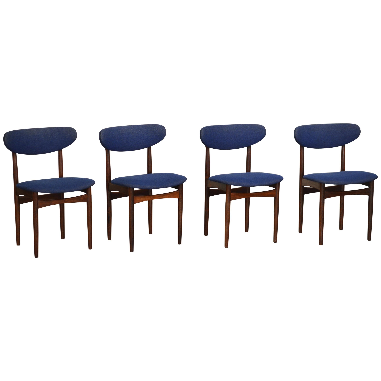 Rosewood Dining Chairs by Slagelse Møbelvaerk, Denmark, Set of Four