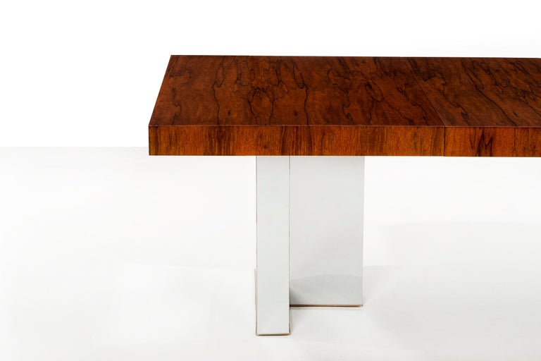 Chrome Rosewood Dining Table by Milo Baughman For Sale