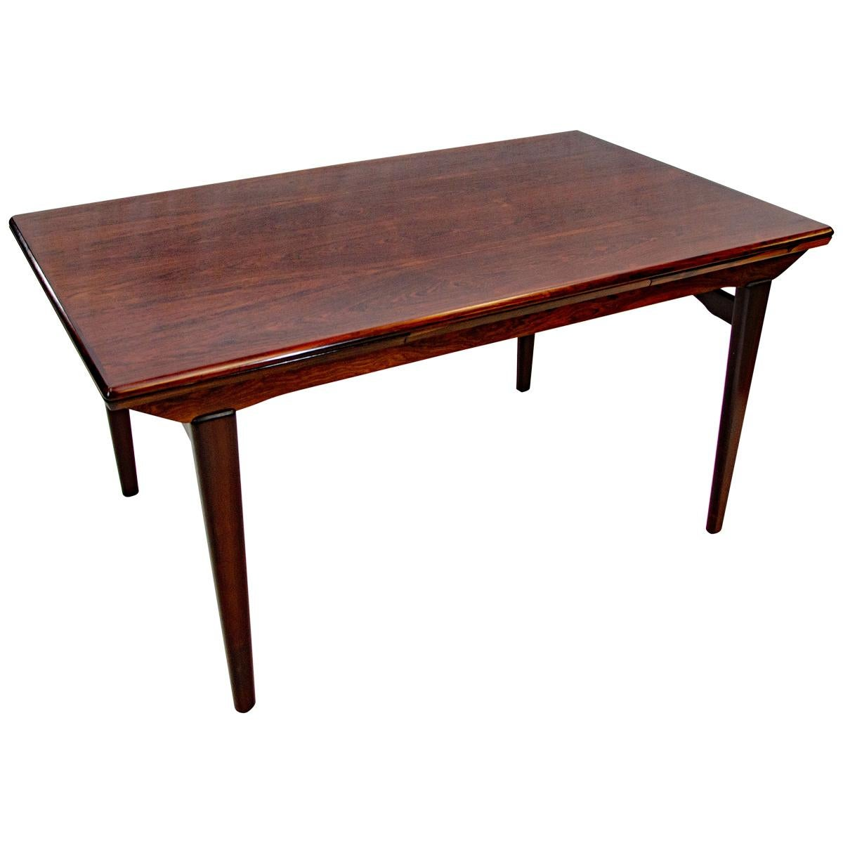 Rosewood Dining Table with Two Draw Leaves, N. O. Møller