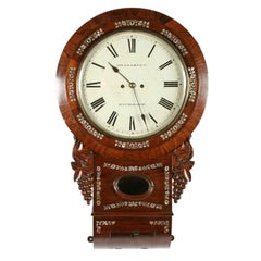 Rosewood Double Fusee Wall Clock, 19th Century