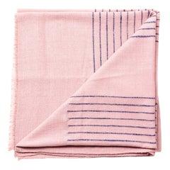 Rosewood Dusty Pink Handloom King Size Bedspread Coverlet in Stripe Design