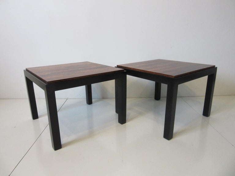 Rosewood / Ebony Parson Side Tables in the Style of Milo Baughman For Sale 4