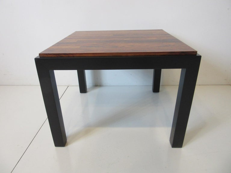 Modern Rosewood / Ebony Parson Side Tables in the Style of Milo Baughman For Sale