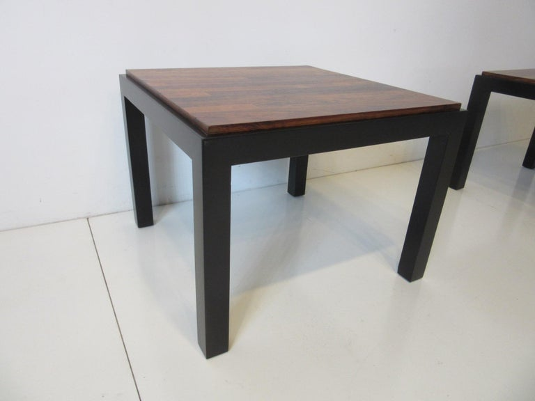 American Rosewood / Ebony Parson Side Tables in the Style of Milo Baughman For Sale