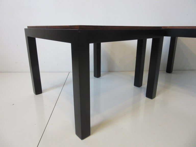 Rosewood / Ebony Parson Side Tables in the Style of Milo Baughman In Good Condition For Sale In Cincinnati, OH