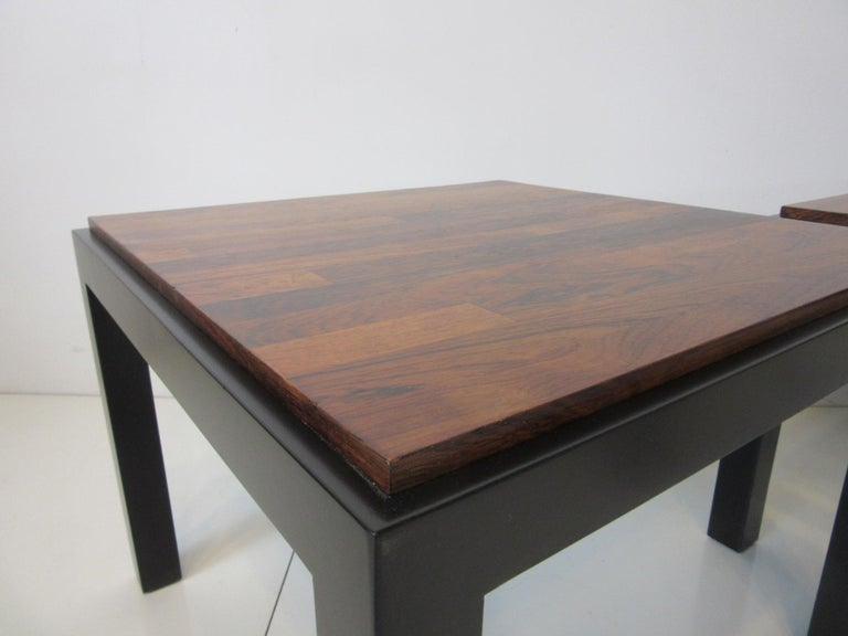 20th Century Rosewood / Ebony Parson Side Tables in the Style of Milo Baughman For Sale