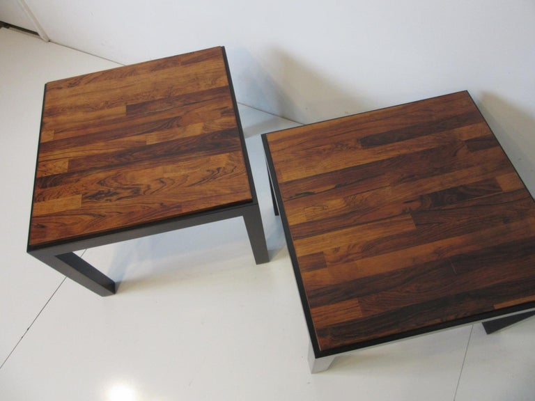 Rosewood / Ebony Parson Side Tables in the Style of Milo Baughman For Sale 2