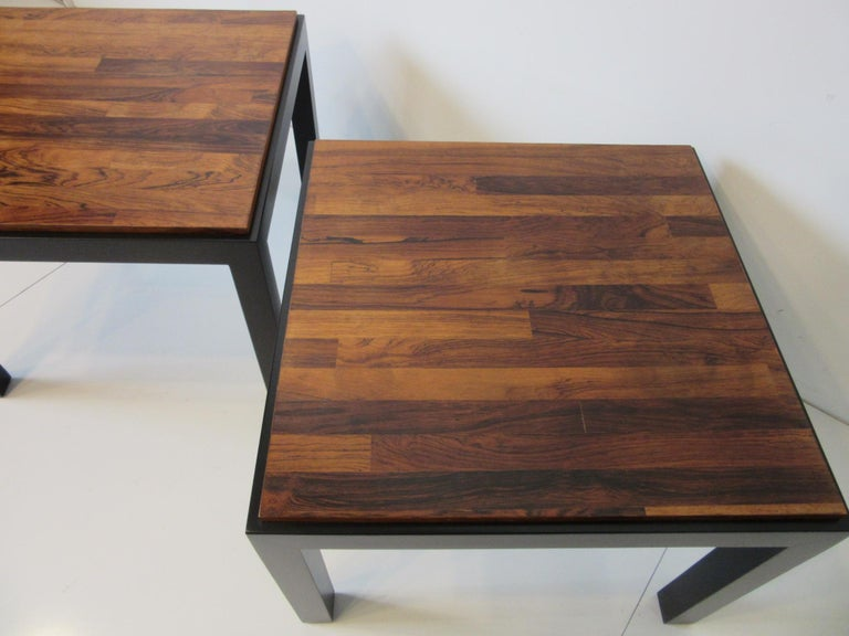 Rosewood / Ebony Parson Side Tables in the Style of Milo Baughman For Sale 3
