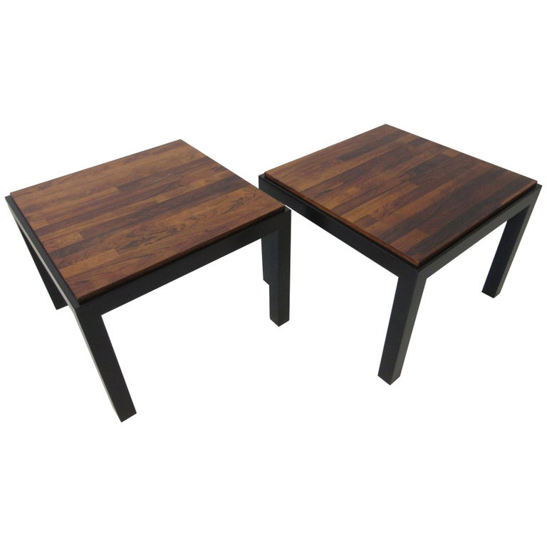 Rosewood / Ebony Parson Side Tables in the Style of Milo Baughman For Sale
