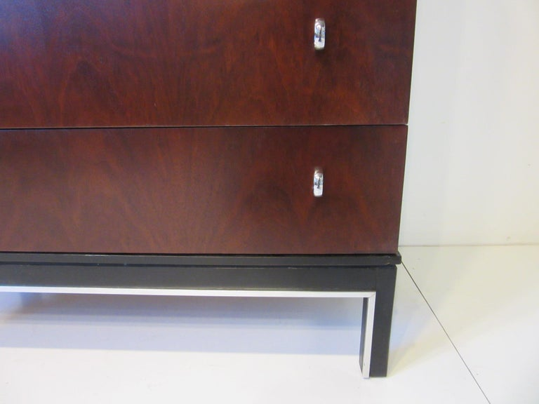 Rosewood Ebony Tall Dresser Chest for American of Martinsville For Sale 4