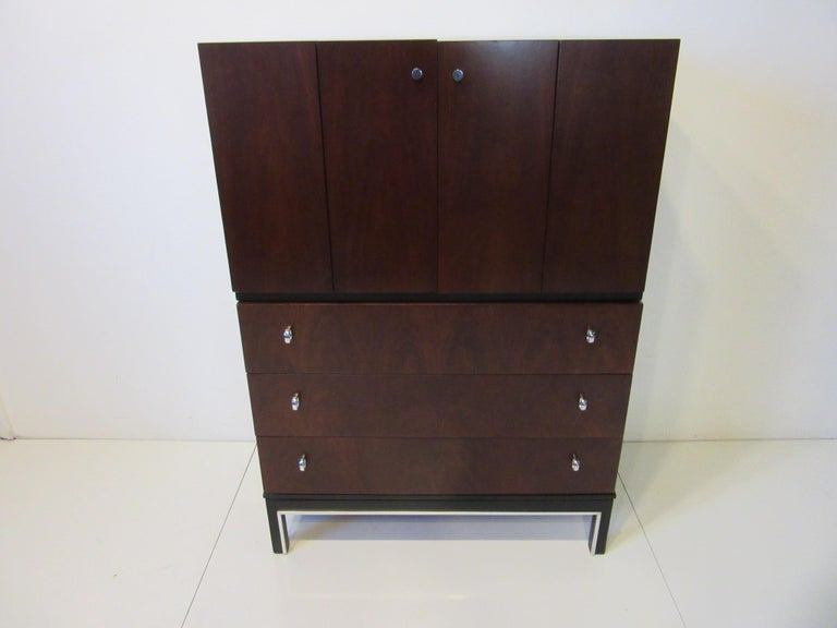 Rosewood Ebony Tall Dresser Chest for American of Martinsville For Sale 7