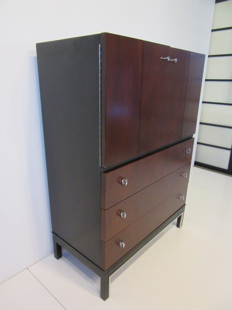 Mid-Century Modern Rosewood Ebony Tall Dresser Chest for American of Martinsville For Sale