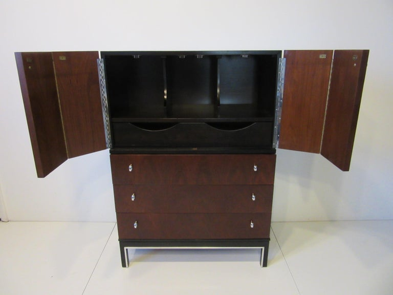 20th Century Rosewood Ebony Tall Dresser Chest for American of Martinsville For Sale