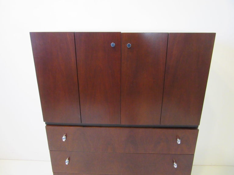 Rosewood Ebony Tall Dresser Chest for American of Martinsville For Sale 2
