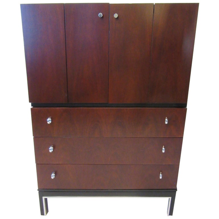 Rosewood Ebony Tall Dresser Chest for American of Martinsville For Sale