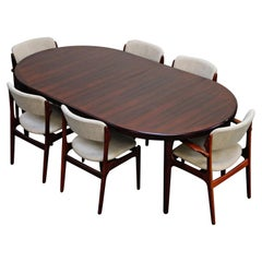Rosewood Erik Buch Dining Set with Six Chairs and Expandable Table, Signed 1966