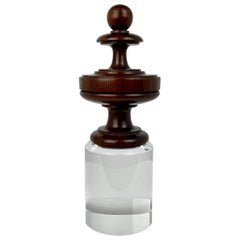 Antique Rosewood Finial Mounted  on a Custom Lucite Pedestal