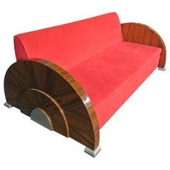 Rosewood French High Art Deco Nickel Round Sofa Settee, Circa 1960s