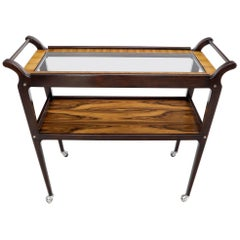 Rosewood & Glass Two Tier Serving Cart on Wheels