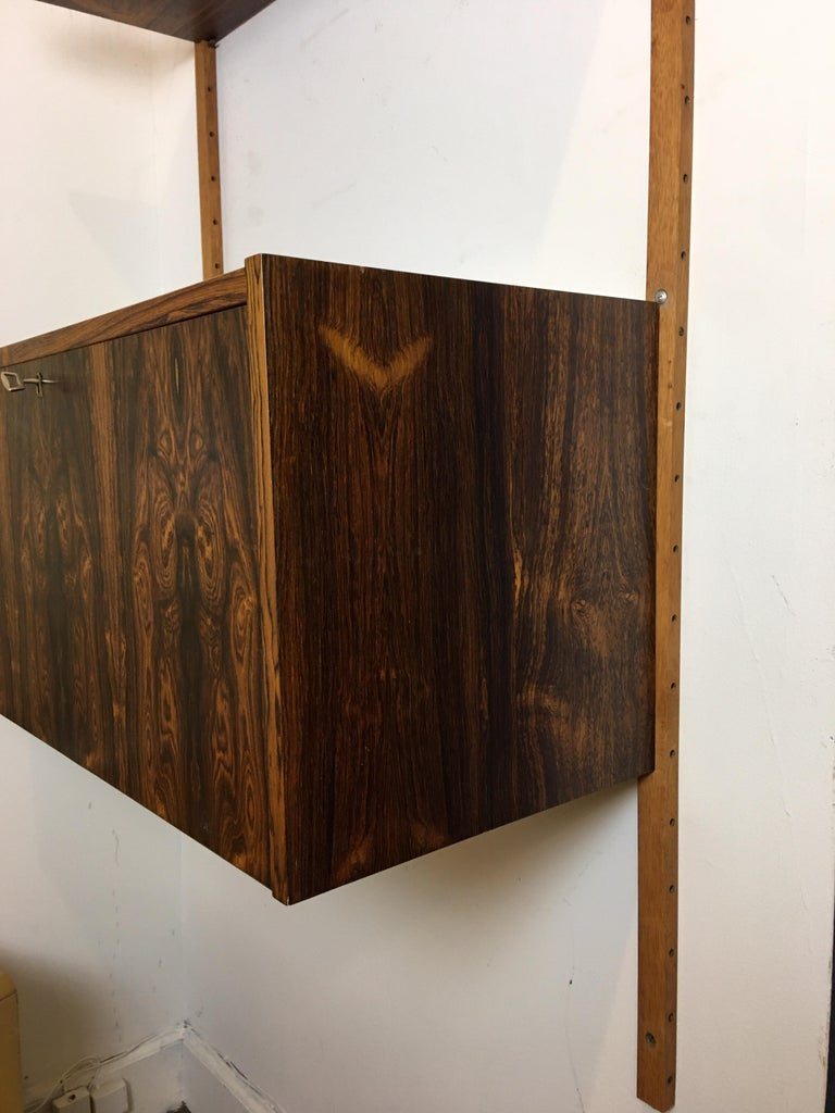 Danish Rosewood Hanging Wall Unit/ PS System by Randers, Denmark For Sale