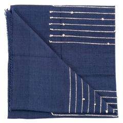 Rosewood Indigo Handloom Queen Size Bedpsread / Coverlet in Stripes Design
