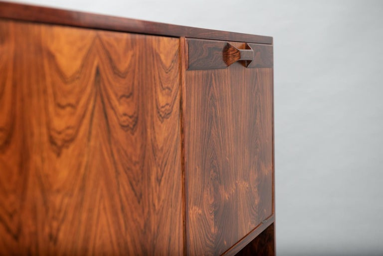 Rosewood Italian Cabinet with Dry Bar in the Style of Franco Albini For Sale 5