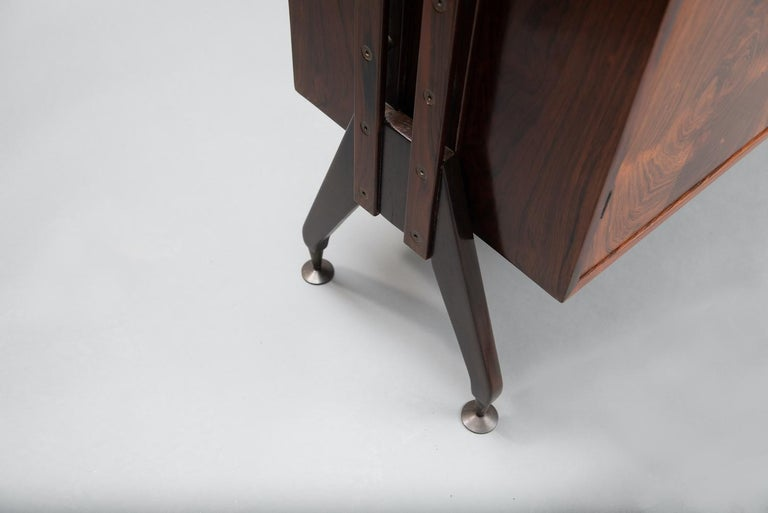 Rosewood Italian Cabinet with Dry Bar in the Style of Franco Albini For Sale 9