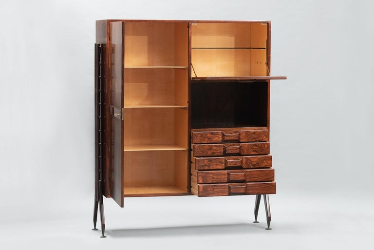Mid-Century Modern Rosewood Italian Cabinet with Dry Bar in the Style of Franco Albini For Sale