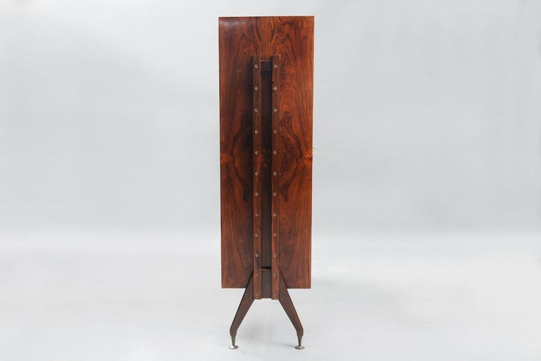Varnished Rosewood Italian Cabinet with Dry Bar in the Style of Franco Albini For Sale