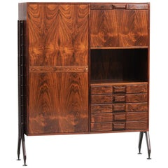 Rosewood Italian Cabinet with Dry Bar in the Style of Franco Albini