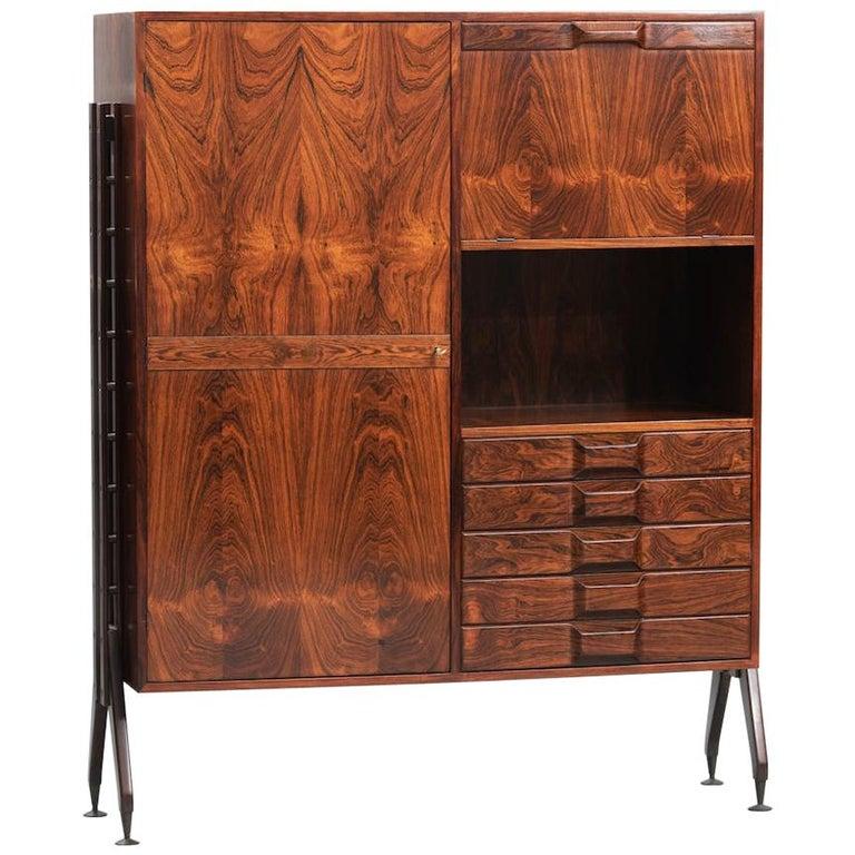 Rosewood Italian Cabinet with Dry Bar in the Style of Franco Albini For Sale