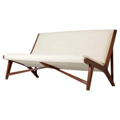 """Teak """"JH 555"""" Sofa by Hans J. Wegner for Johannes Hansen, Denmark. 1950s."""