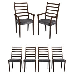 Rosewood Ladder Back Dining Chairs Mid Century Vintage