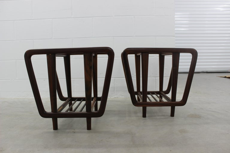 Mid-Century Modern Rosewood Lateral Side Tables by Giuseppe Scapinelli, Brazilian Midcentury For Sale