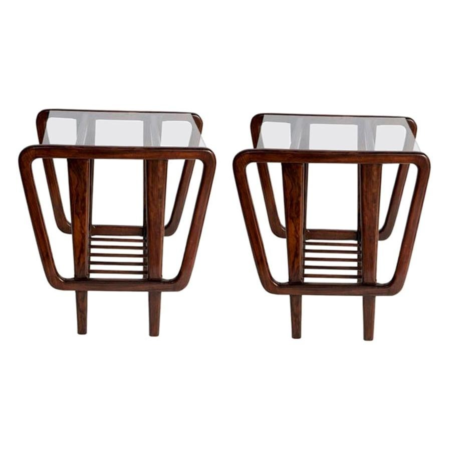 Rosewood Lateral Side Tables by Giuseppe Scapinelli, Brazilian Midcentury