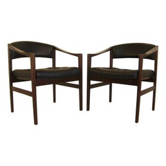 Rosewood & Leather Danish Modern Dux Chairs by Ray Zimmerman