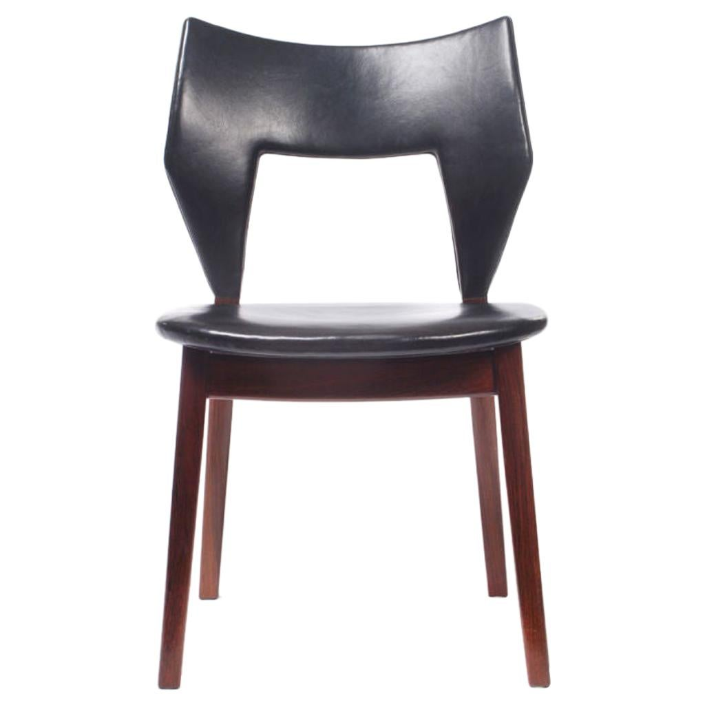 Rosewood and Leather Dining Chair by Edward and Tove Kindt-Larsen