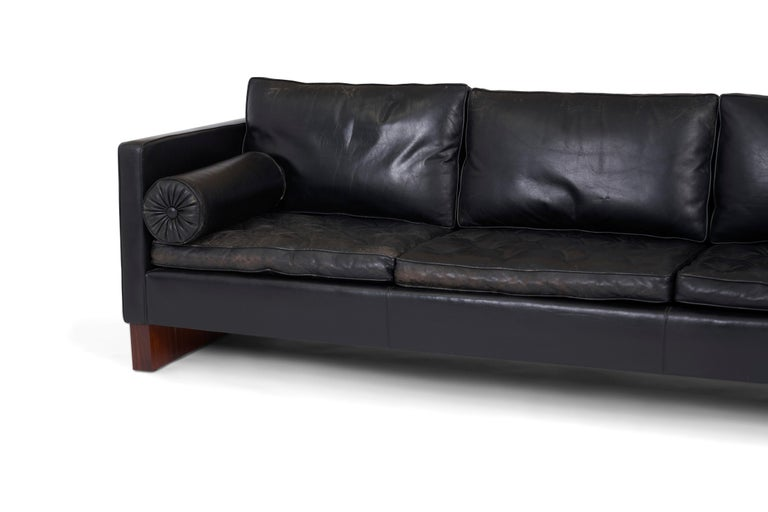 Rosewood and Leather Sofa, Ludwig Mies van der Rohe, Knoll, 1960