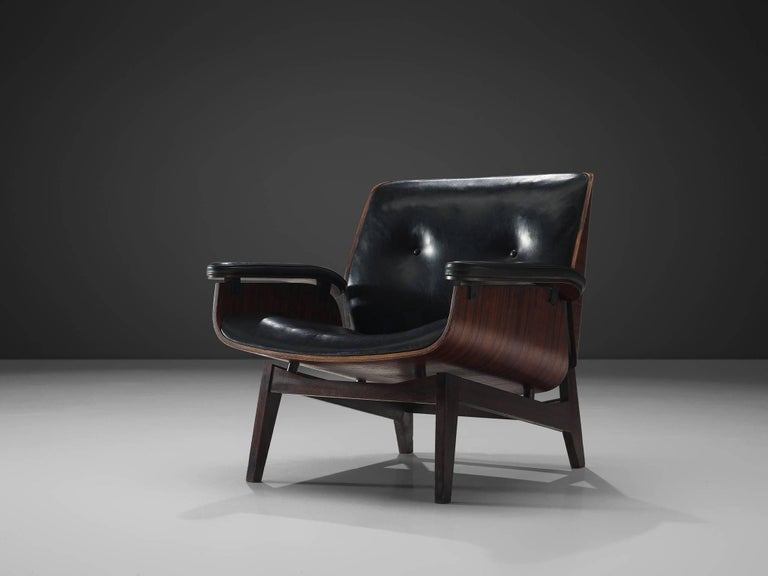 Mid-Century Modern Rosewood Lounge Chair in Black Faux Leather by MIM, Italy