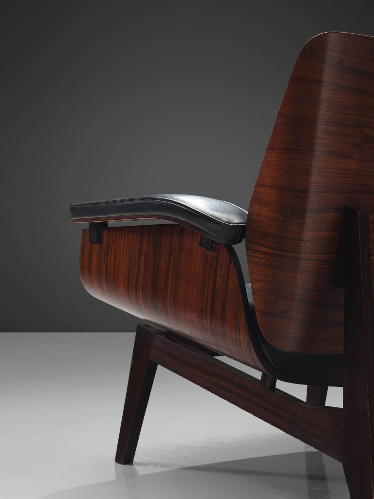 Mid-20th Century Rosewood Lounge Chair in Black Faux Leather by MIM, Italy
