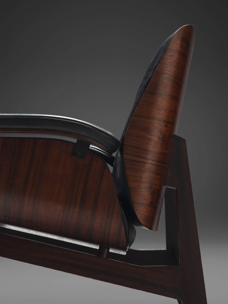 Rosewood Lounge Chair in Black Faux Leather by MIM, Italy 1