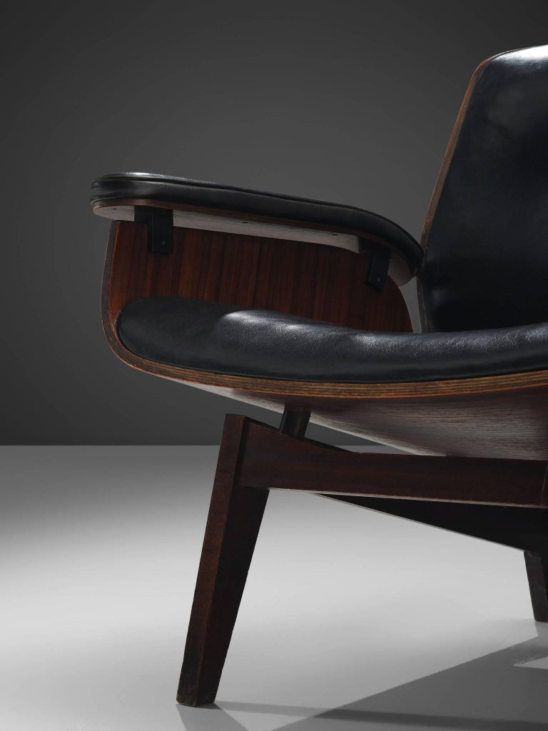 Rosewood Lounge Chair in Black Faux Leather by MIM, Italy 2