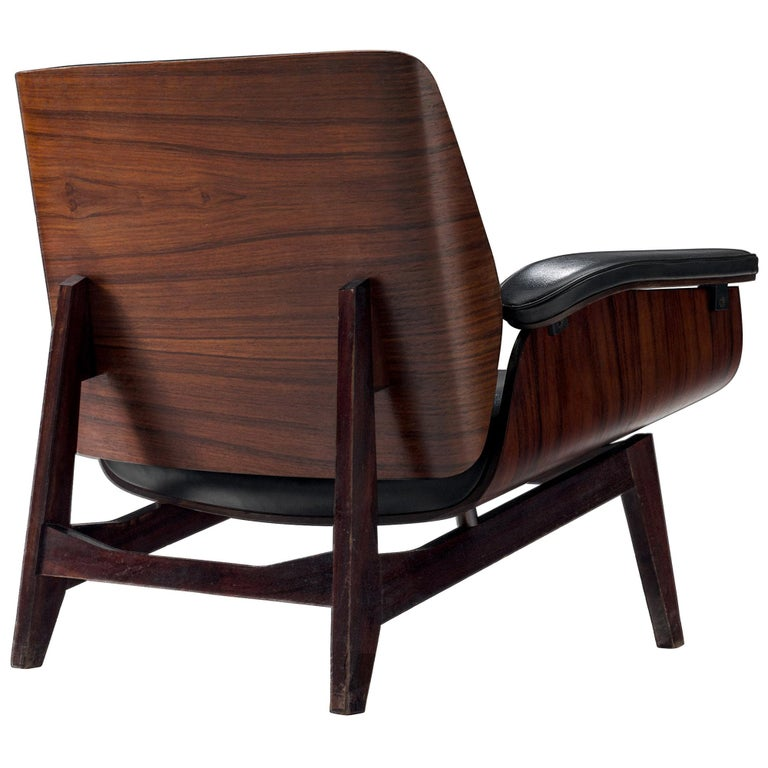 Rosewood Lounge Chair in Black Faux Leather by MIM, Italy