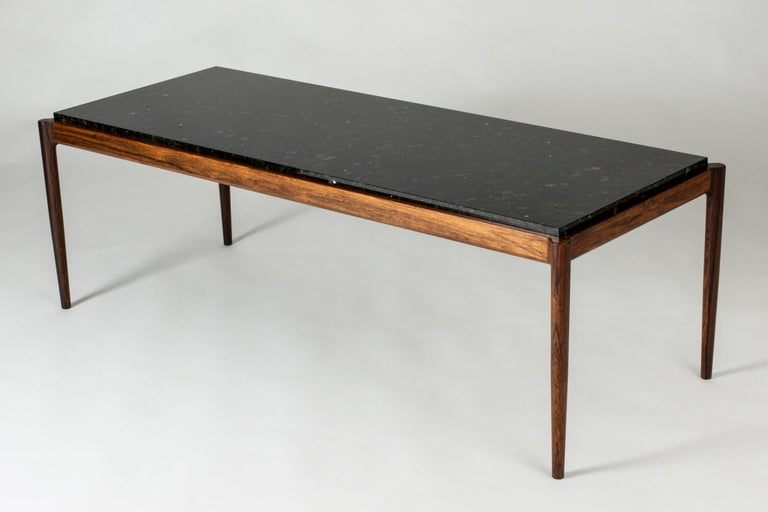 Scandinavian Modern Rosewood & Marble Coffee Table by Ib Kofod-Larson for Seffle Möller, Sweden For Sale